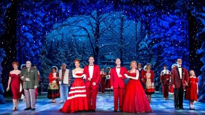 cast of Irving Berlin's White Christmas on stage
