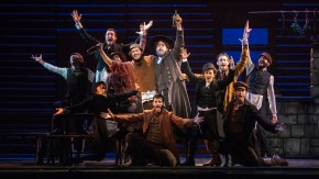 Yehezkel Lazarov, Jonathan Von Mering and the cast of 'Fiddler on the Roof.'
