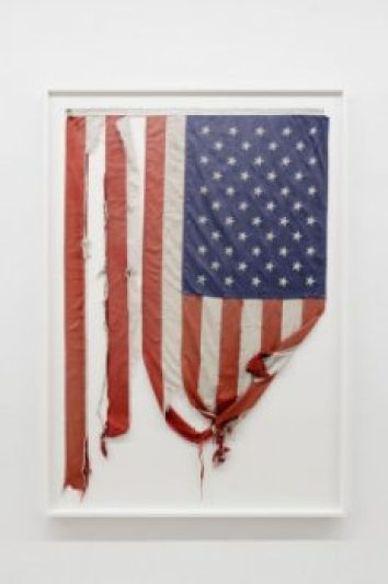 Ziegler's weathered American flag was collected as he traveled across the country, offering a brand new flag in exchanged for the tattered one.