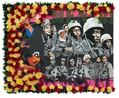 mixed-media art with flowers and Black soldiers