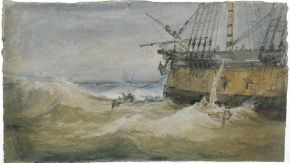 old painting of a boat on rough seas