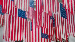 tattered American flags