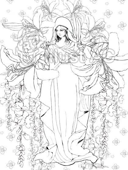 マリア様の塗り絵イラスト - no: 733550/無料イラストなら「イラストac」