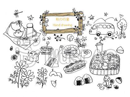 秋の行楽、バス、リュックサック、お弁当、サンドイッチ、無料イラスト、秋の行楽、バス、リュックサック、お弁当、サンドイッチ、無料イラスト、線画