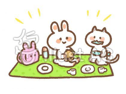 うさぎ、猫、ピクニック、遠足、無料イラスト