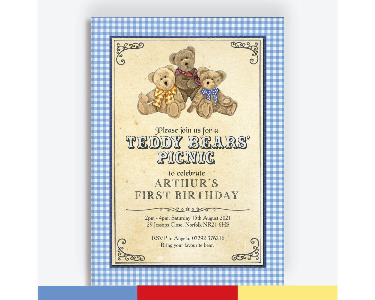 teddy bears picnic kids party invitation