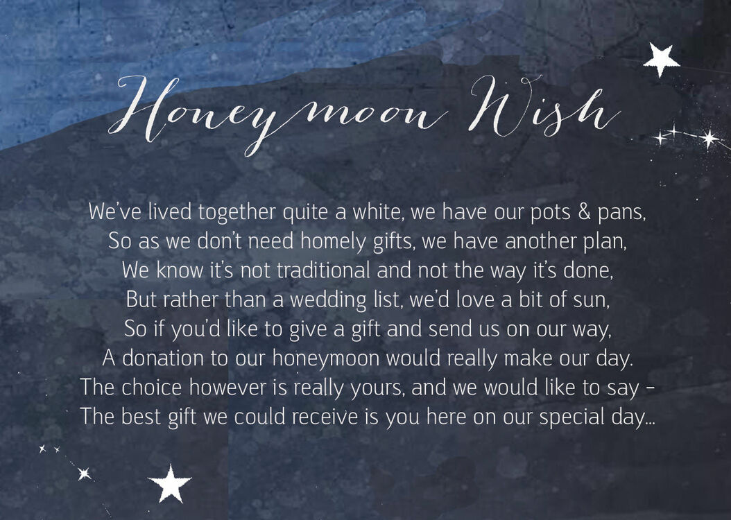 Midnight Stars Wedding Gift Wish Card From £0.40 Each