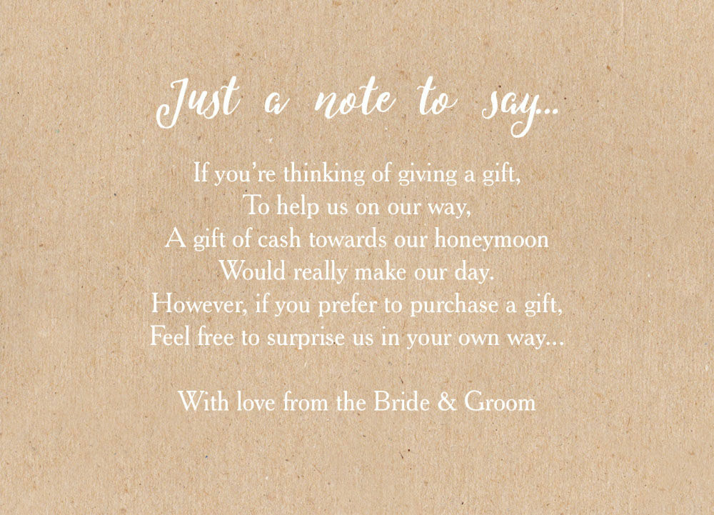 Calligraphy Wedding Gift Wish Card From £0.40 Each