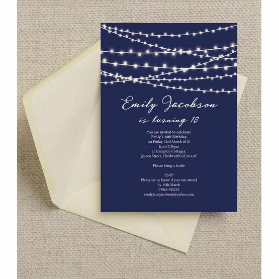 navy blue fairy lights 18th birthday party invitation
