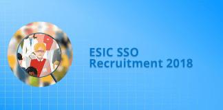 ESIC SSO Recruitment 2018