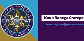 KBC Season 11 episode 8 questions answers