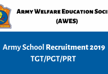 AWES Army School TGT, PGT, PRT Recruitment 2019