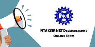NTA CSIR NET December 2019 Online Form