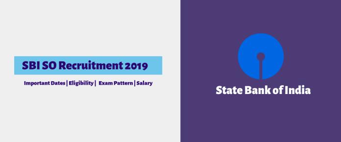 SBI SO 2019 recruitment