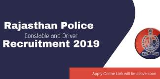 Rajasthan Police Constable and Driver Recruitment 2019