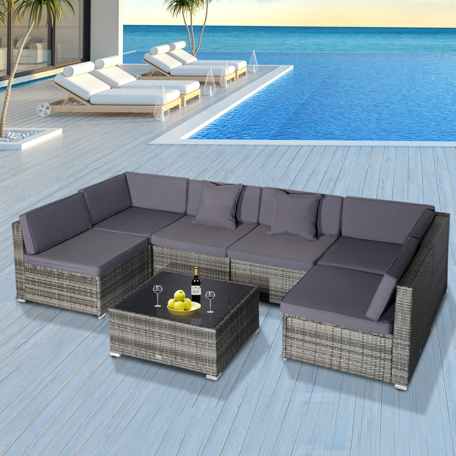 details about outsunny modern low back rattan chair sofa outdoor sectional patio furniture 7