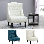 Details About Linen Fabric Tufted Tall Wingback Accent Chair With Wooden Legs