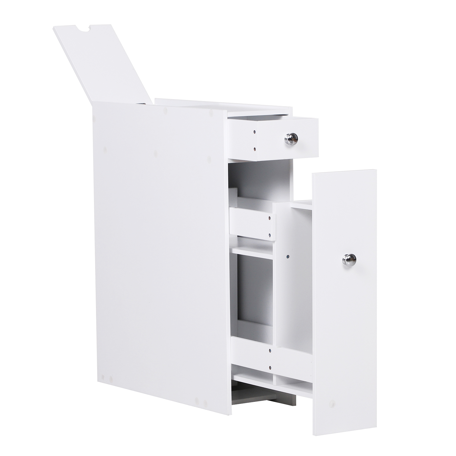Homcom Slim Floor Cabinet Narrow Wooden Storage With Drawers Bathroom White Ebay