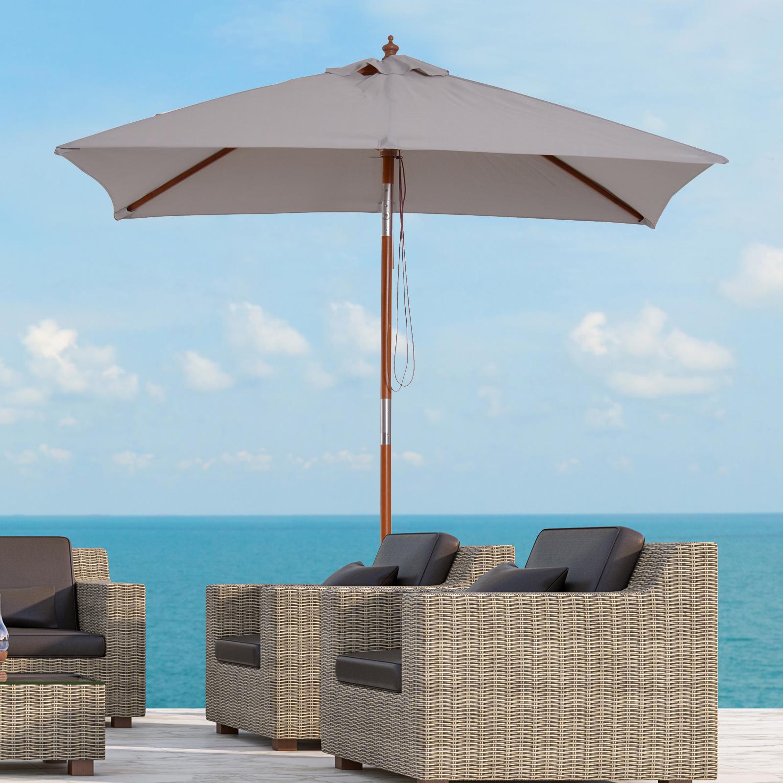 outsunny 2x1 5m wooden patio umbrella parasol outdoor sunshade 6 ribs grey