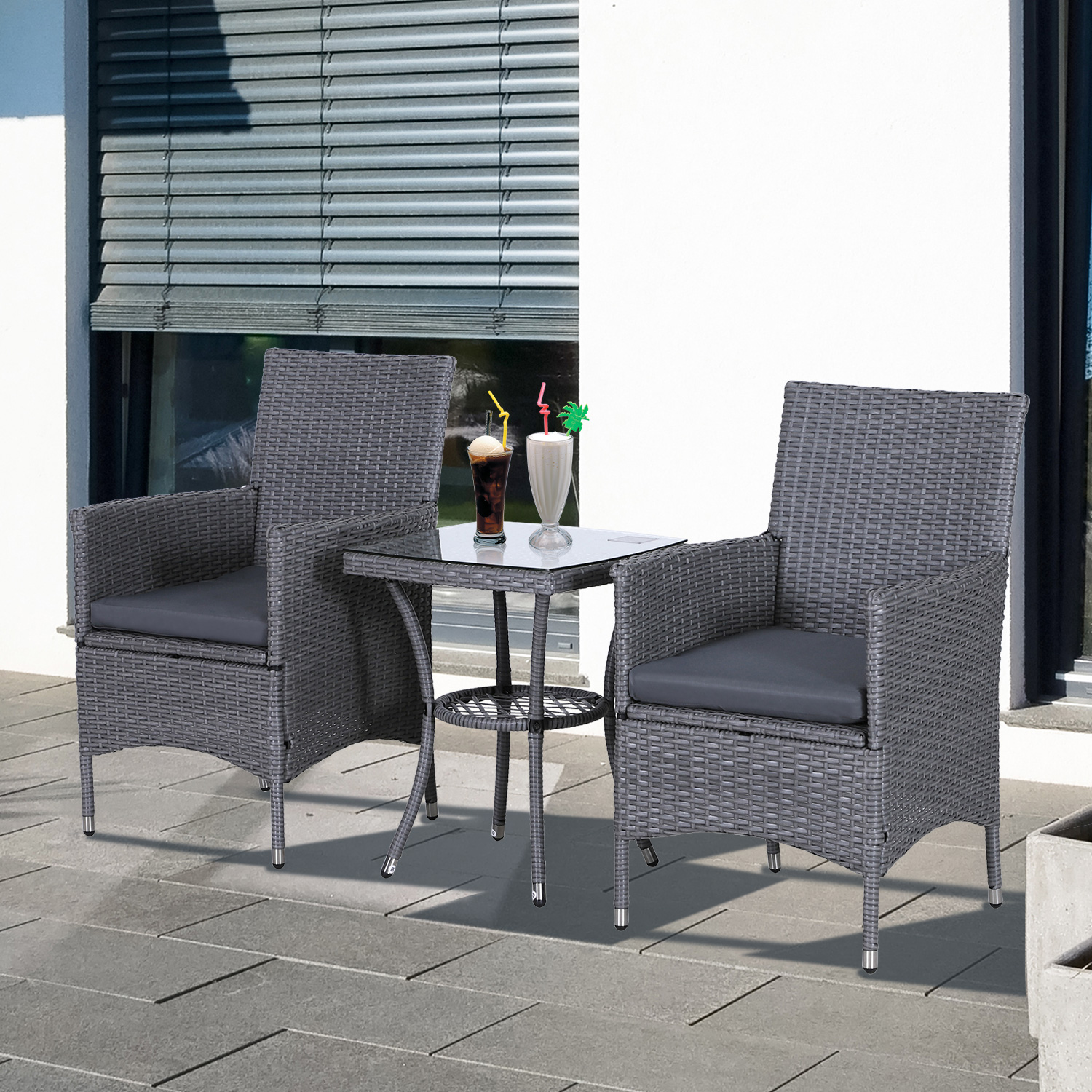 details about outsunny 3pc rattan bistro set wicker furniture for garden outdoor balcony patio