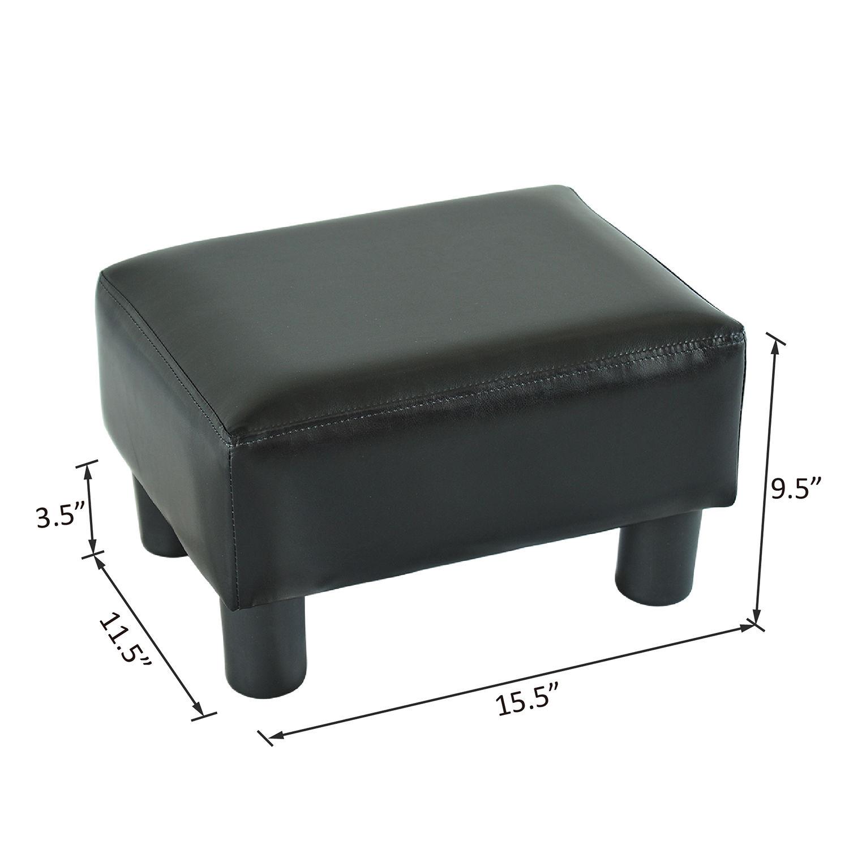 homcom modern small faux leather ottoman footrest stool black