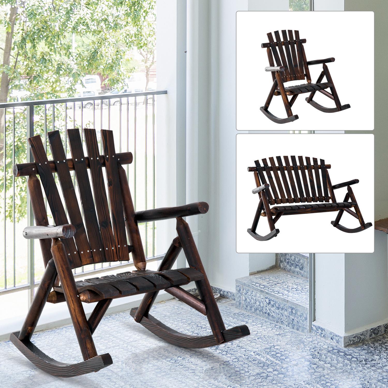 details about rustic outdoor patio adirondack rocking chair patio furniture porch rocker fir