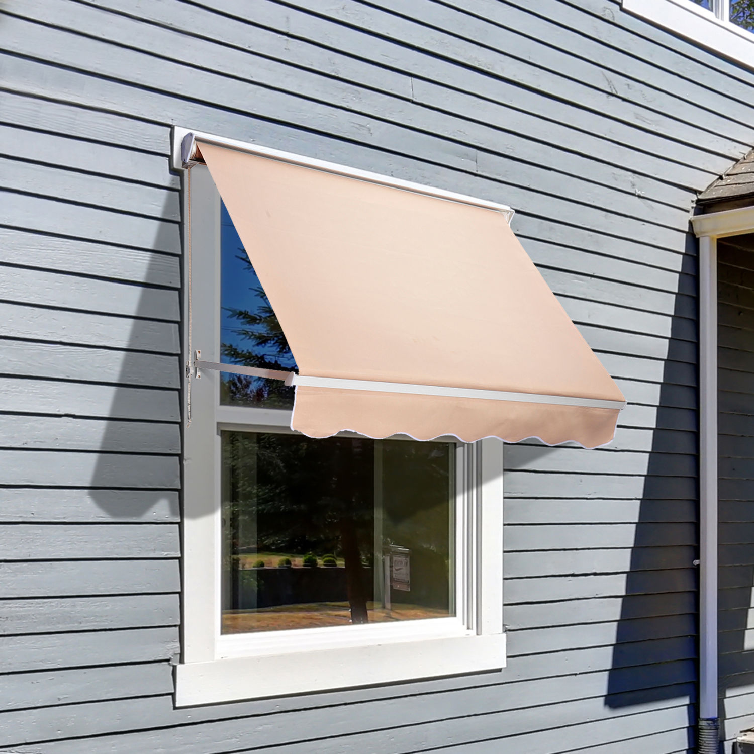 Outsunny Drop Retractable Window Awning Canopy Sun Shade