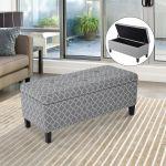 Homcom Storage Ottoman Padded Bench Seat Footstool Organizer W Tufted Top 712190165260 Ebay