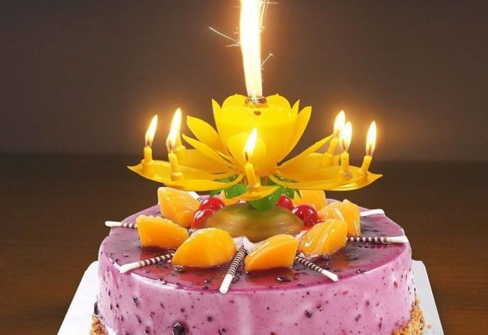 Birthday Cake Flower Candles With Happy Birthday Music Rotating