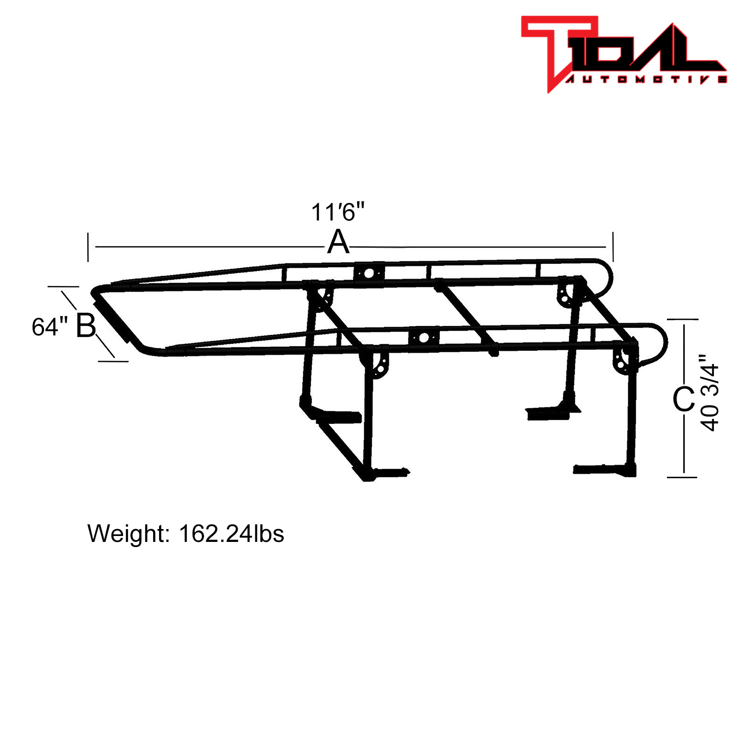 Adjustable Full Size Contractor Rack Truck Cargo Roof