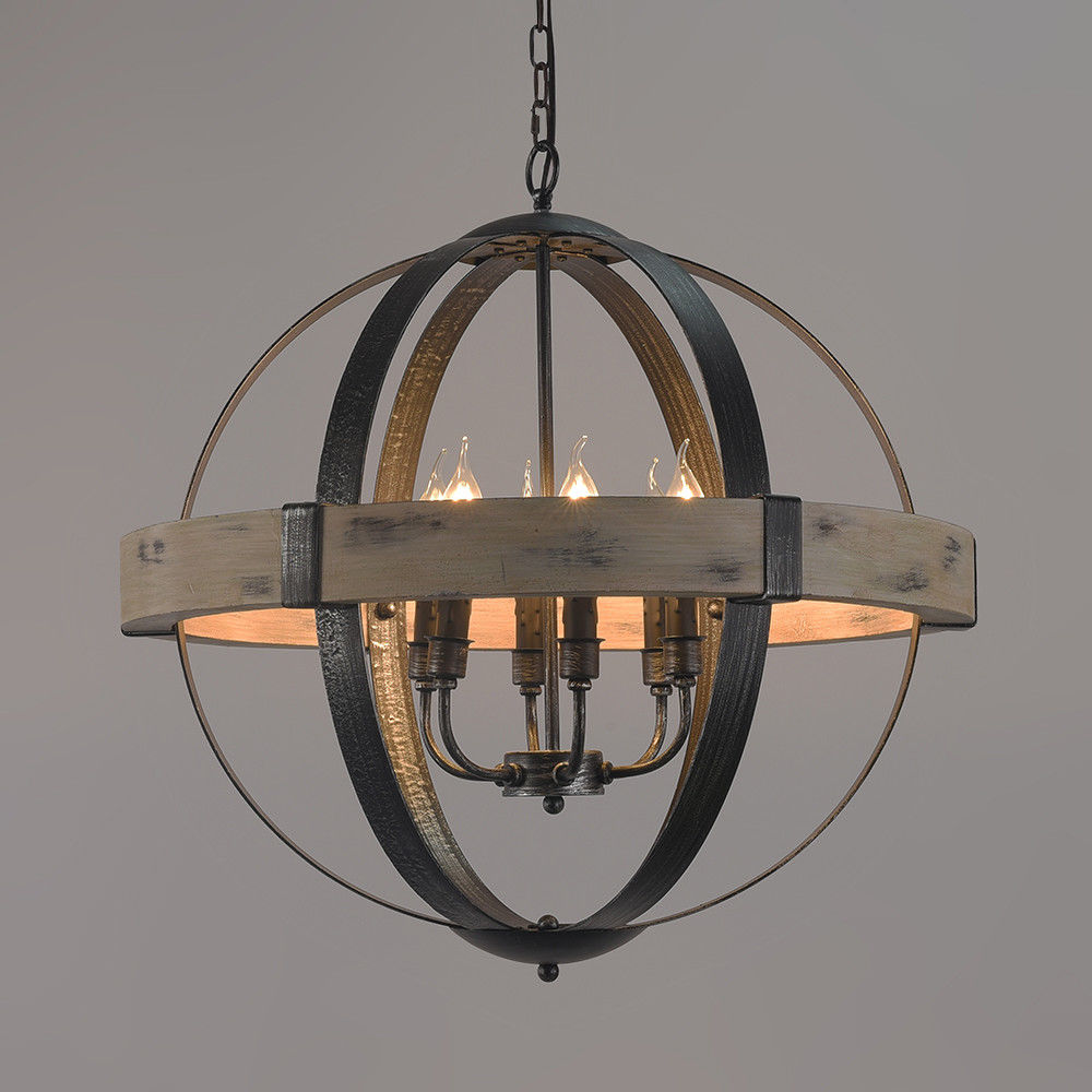 Vintage Style Wrought Iron Chandelier Pendant Light In