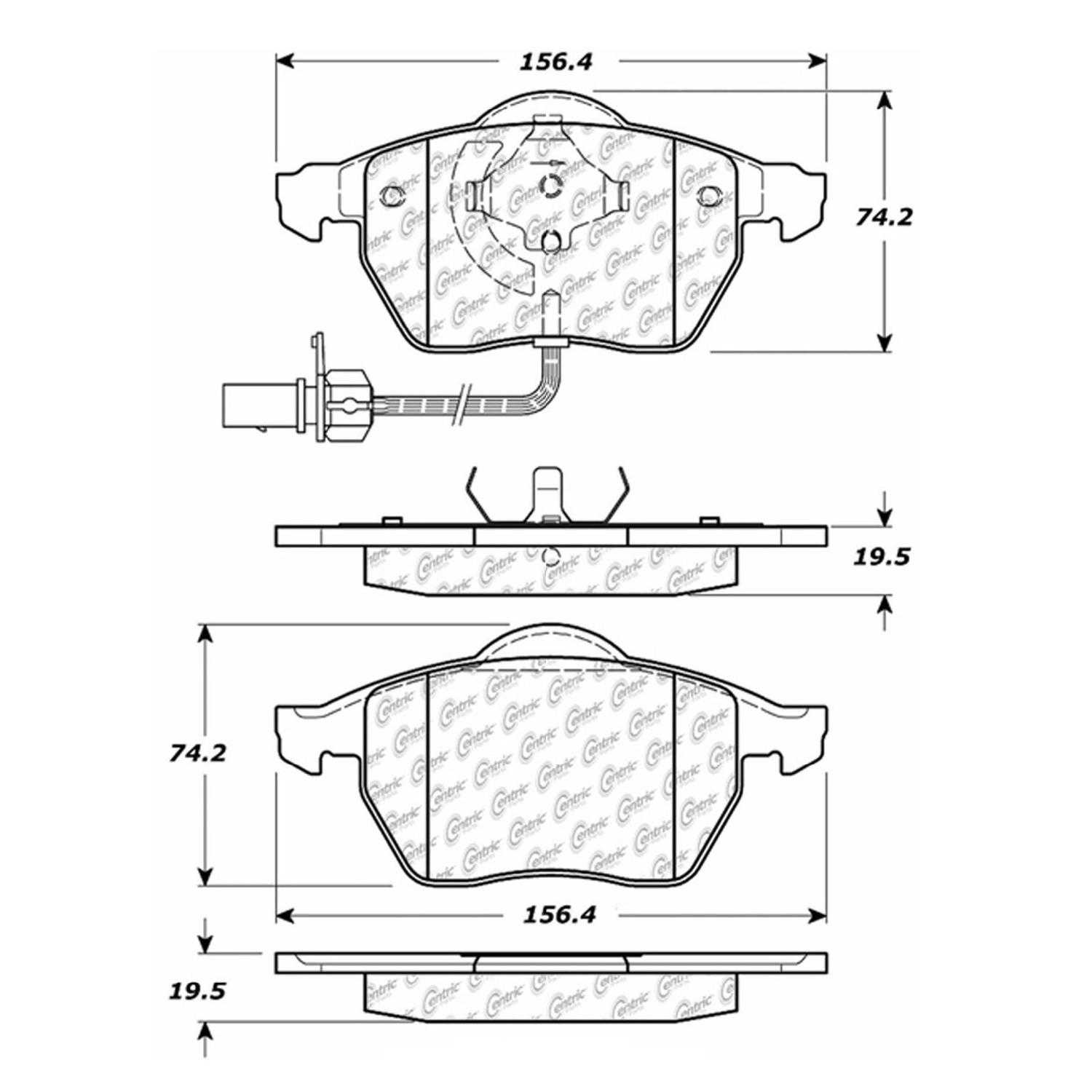 Centric Parts Brake Pads Front Rear For Audi A4