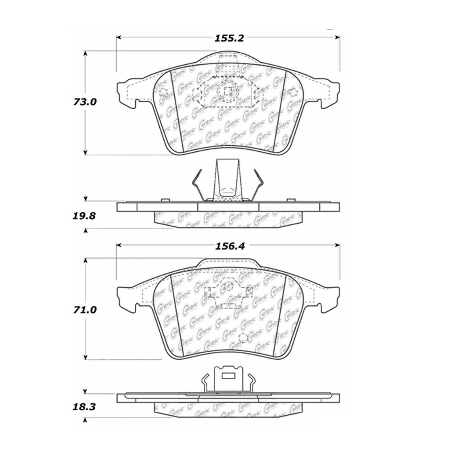 For Centric Parts Brake Pads Front Rear Volvo Xc90 V8