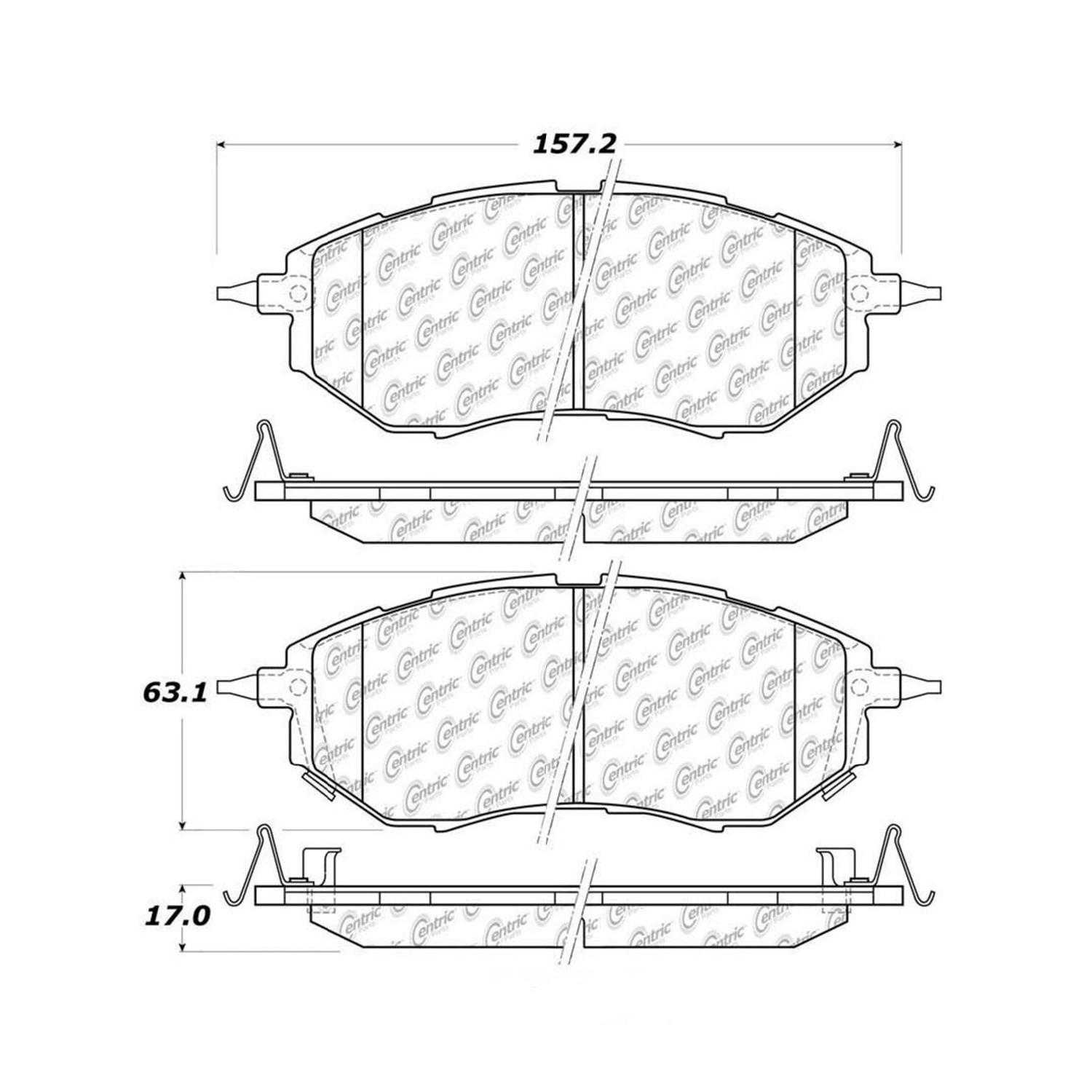 Centric Parts Brake Pads Front Rear For Subaru