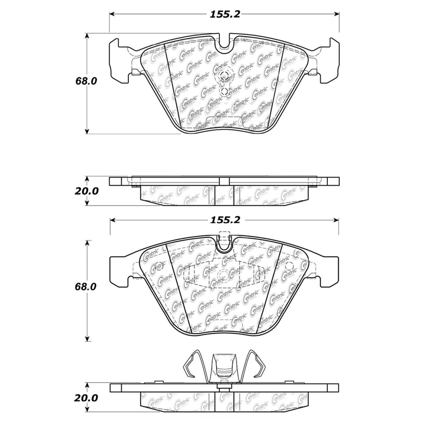 Centric Parts Brake Pads Front Rear For Bmw 328i