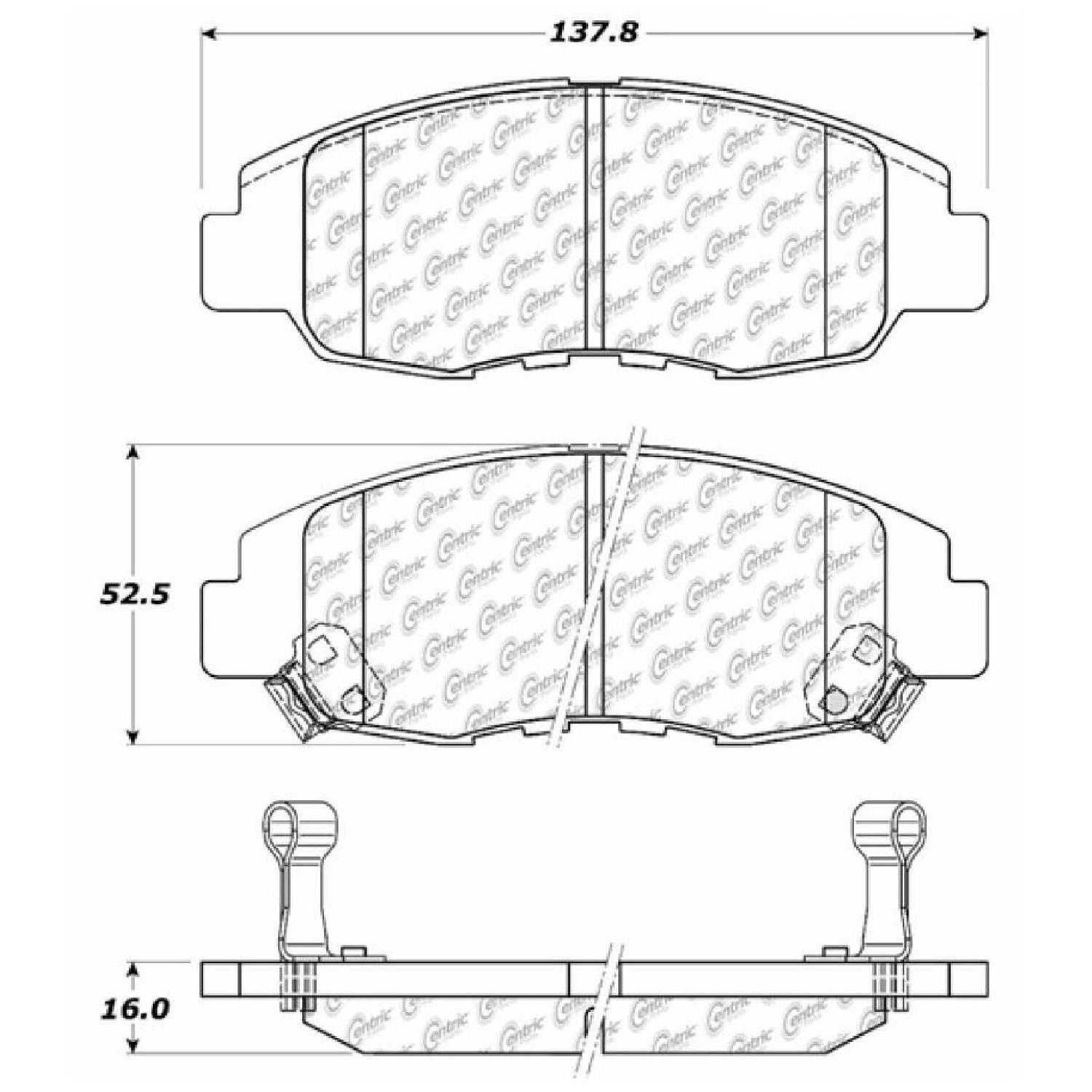 Centric Parts Brake Pads Front Rear For 99 Honda