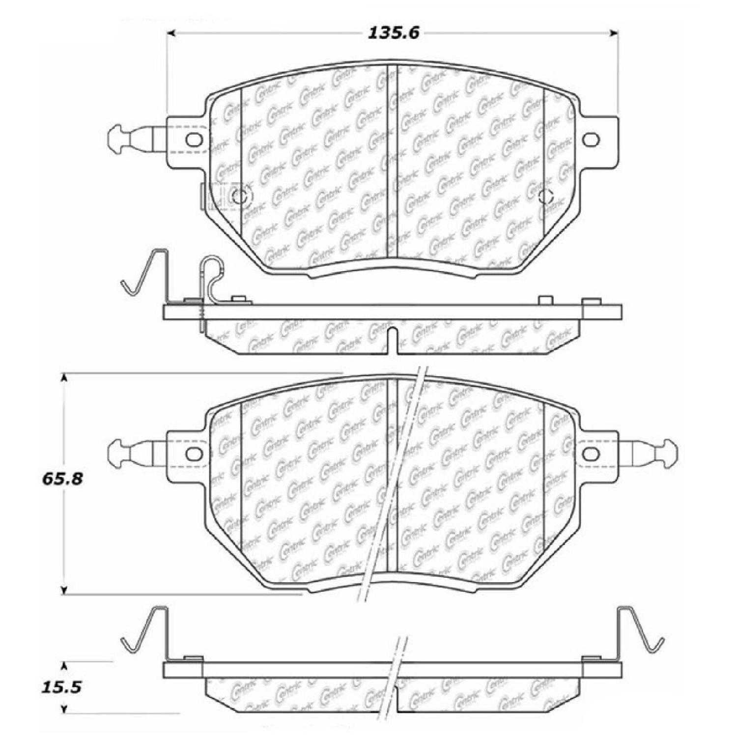 Centric Parts Brake Pads Front Rear For 04 07 Nissan