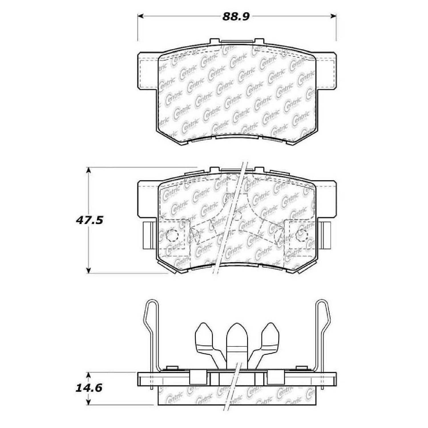 Centric Parts Brake Pads Front Rear For 10 11 Honda Accord