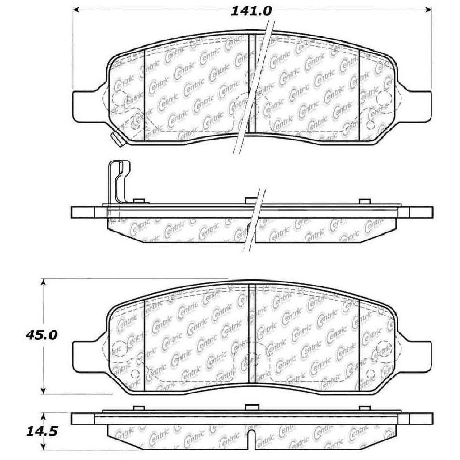 Centric Parts Brake Pads Front Rear For 10 Buick Lucerne