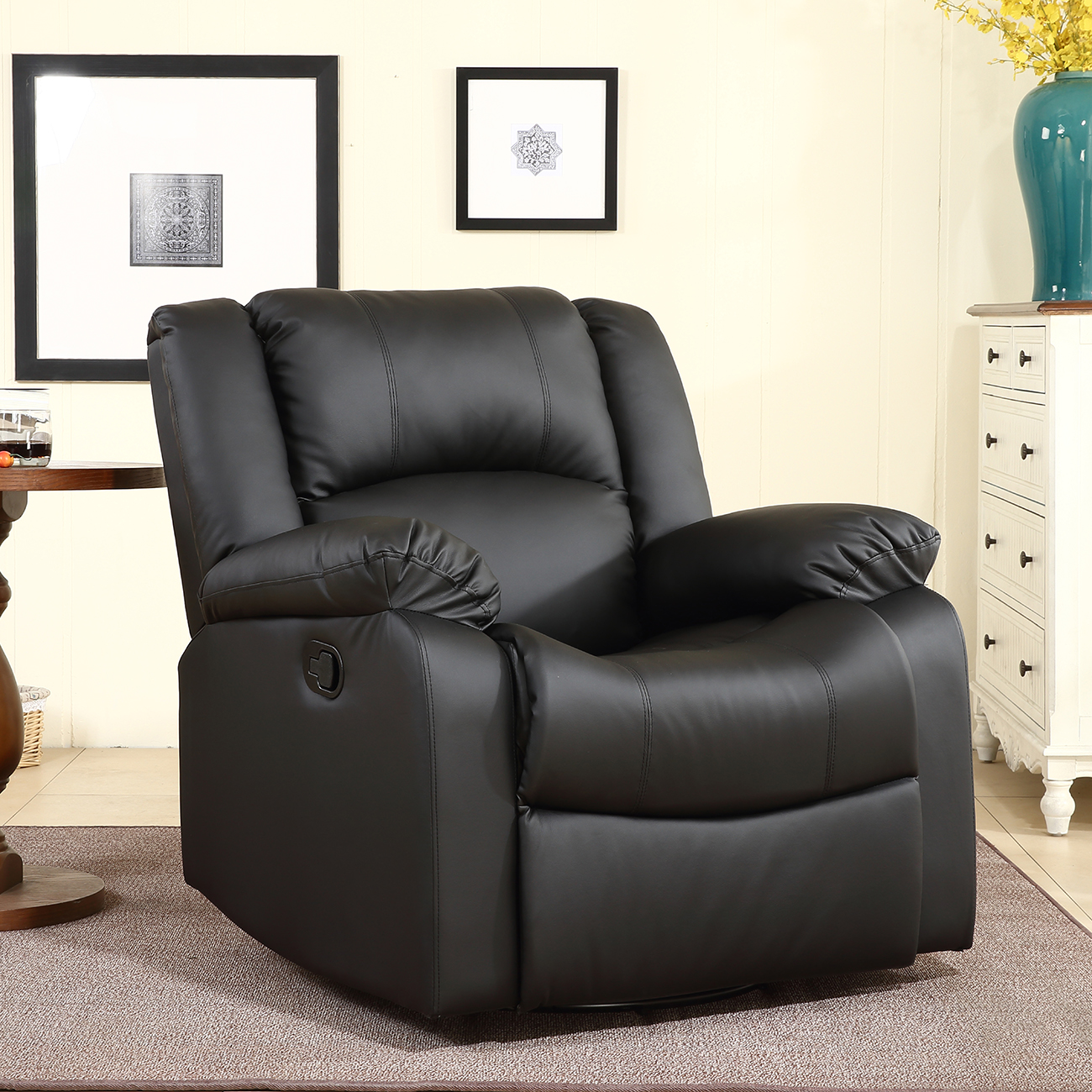 Details About Leather Black Brown Single Seat Living Room Recliner And Rocking Swivel Chair