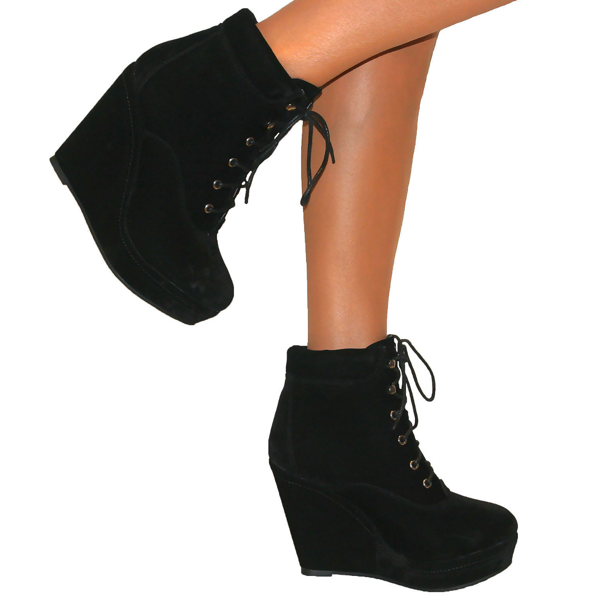WOMENS BLACK WEDGE HIGH HEEL PLATFORM SUEDE LACE UP SHOES