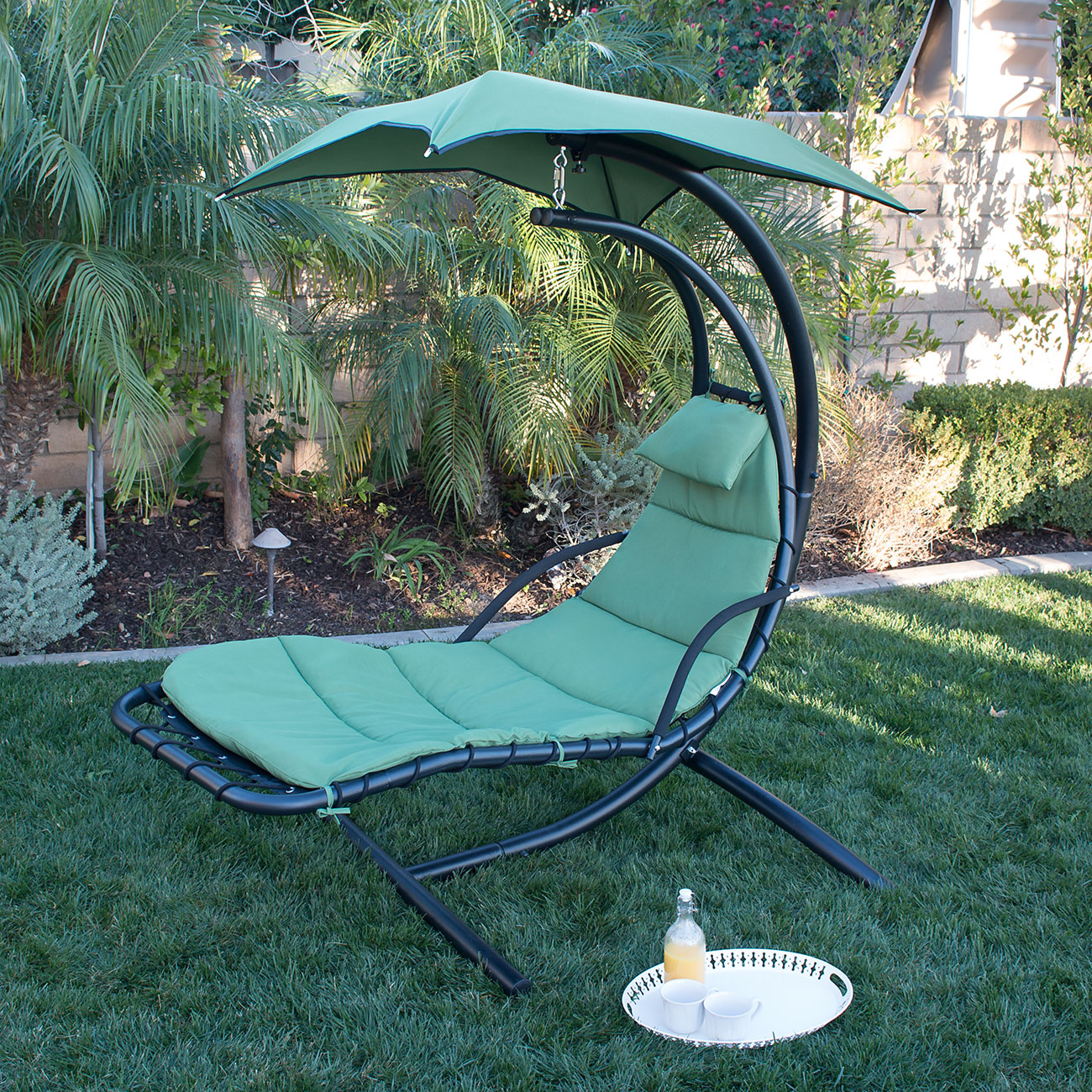 Green Hanging Swing Hammock Canopy Chaise Lounger Chair