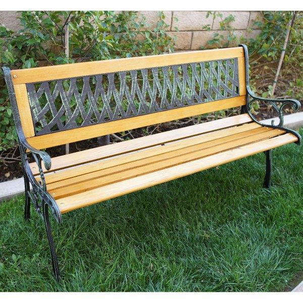 "hardwood garden bench Outdoor 50"" Patio Porch Deck Hardwood Cast Iron Garden"