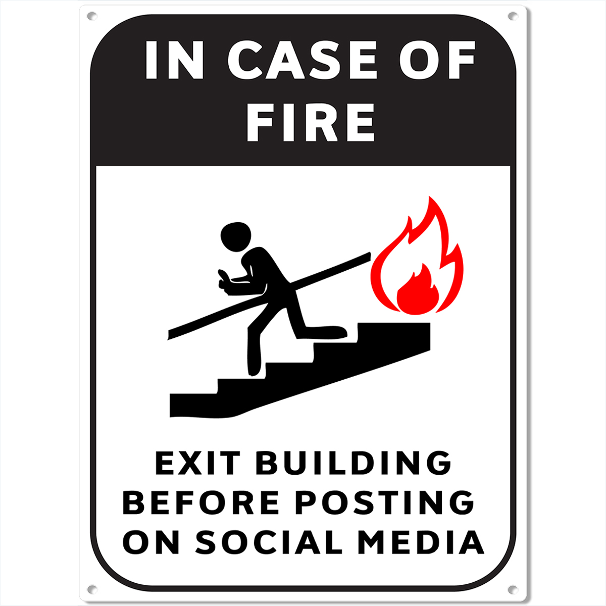 Fire Escape Social Media Metal Sign Funny Bar Game Room