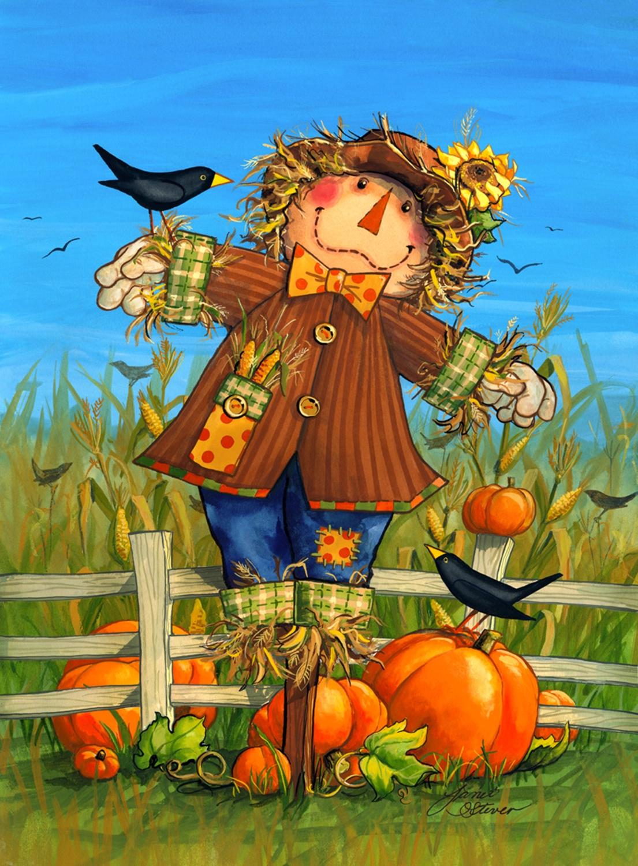 October Scarecrow Fall Garden Flag Harvest Crows Autumn 12