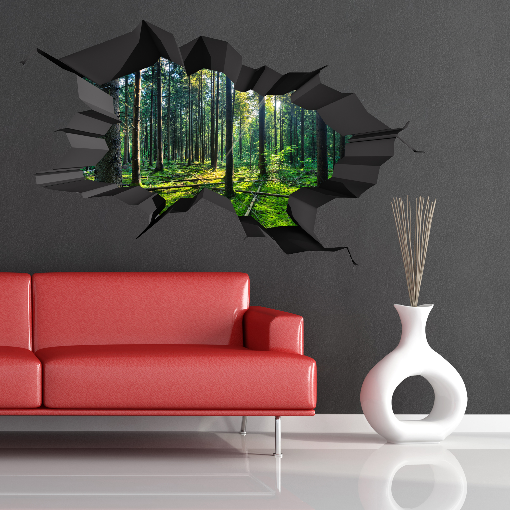 FULL COLOUR WOODS FOREST TREES JUNGLE CRACKED 3D WALL ART STICKER DECAL WSDFC47