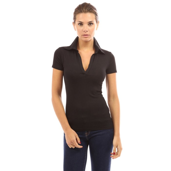 Women Casual Tops Long Sleeve Polo V Neck Slim Fit Summer