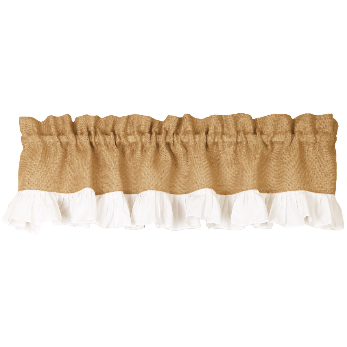 Burlap And White Ruffle Country Valance