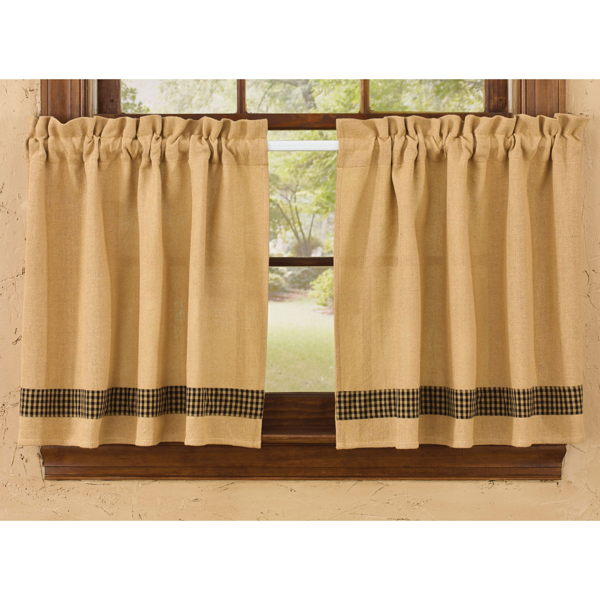 Burlap And Check Unlined Curtain Tiers By Park Designs 24