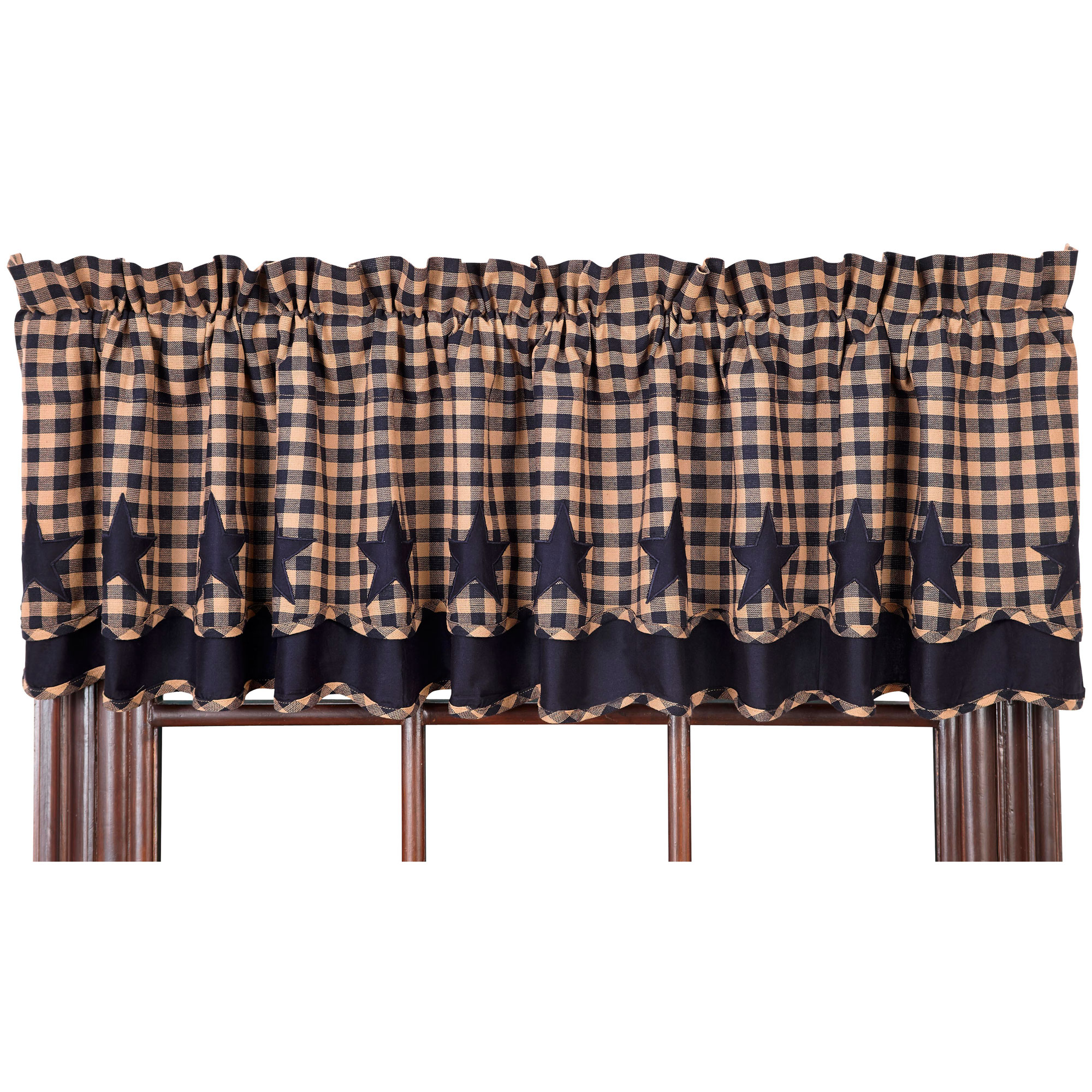 Star And Check Scalloped Lined Layered Valance Navy Black